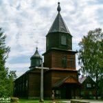 Drewniany kościół w Gibach. Była to molenna staroobrzędowców. Zbudowana w 1913 r.