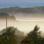 Unosząca się mgła po burzy