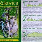 Rowerowa mapa okolicy Rakovice. Opisy i wykresy. Sama mapa o charakterze poglądowym