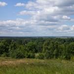 Rozległa panorama ze wzgórza w Hrebenne