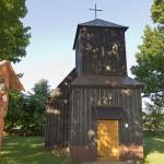 Drewniany kościół w Skórkach pw. św. Katarzyny wybudowany w 1857