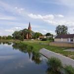 Barcin – Noteć a w tle kościół pw. św. Jakuba