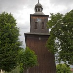 Kobylin. Drewniana wieża dawnego kościoła ewangelickiego z 1764 r.
