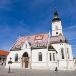 Kościół św. Marka – na dachu dwa herby: Chorwacji i Zagrzebiea