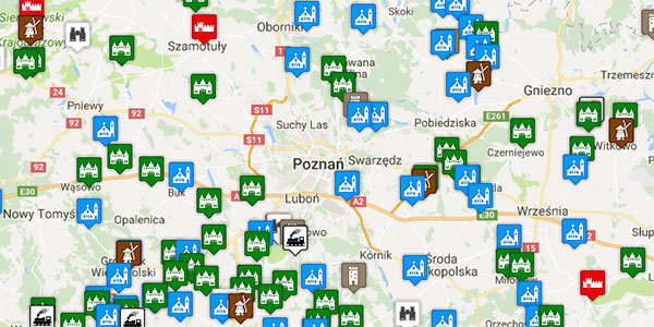 Mapa atrakcji w Wielkopolsce