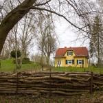 Uroczy domek z zielonymi okiennicami