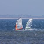 Poranny wiatr przyciągnął tez windsurferów