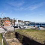 Świetny widok z kładki na port, muzeum u-bootów i promenadę