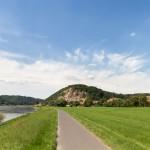 Sörnewitz. Na górze ogród botaniczny i punkt widokowy na Łabę