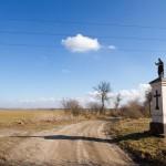 Kapliczka przed Cykowem. Za nami stara aleja lipowa