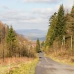 Długi podjazd ze Stryszawy na Przełęcz Przysłop