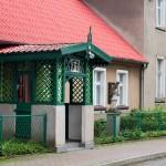 Bonikowo. Proboszczówka, altanka i figura Nepomucena
