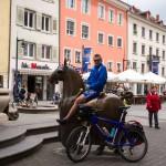 Jeździec na ośmiokopytnym koniu przy fontannie cesarza (Kaiserbrunnen). Naturalnej wielkości odlana z brązu figura konia upamiętnia pobyt w Konstancji cesarza Friedricha II w roku 1212. Ponieważ było mu bardzo śpieszno aby dostać się na północ kraju koń dostał osiem kopyt.