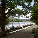 Schaffhausen. Przystań dla łodzi wiosłowych na Renie