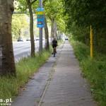Droga rowerowa nie zawsze jest tu szeroka