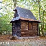Kaplica w lesie Rąbińskim. Szlak rowerowy ks. P. Wawrzyniaka
