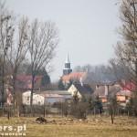 Rzystnowo. Kościół z drewnianą wieżą